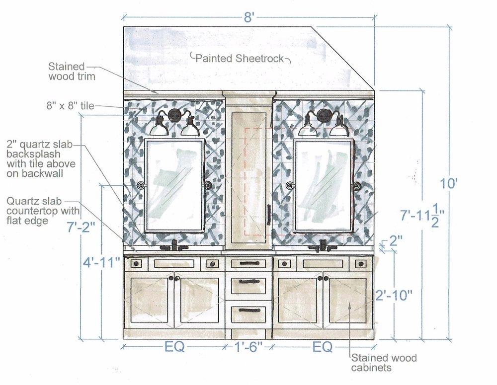 Bathroom Remodel Desgin Sketch | Carla Aston, Designer