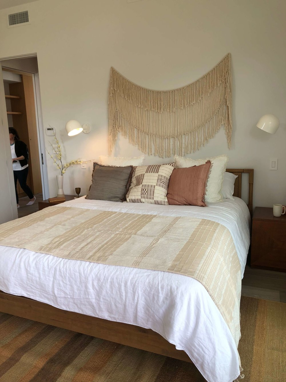 Master Bedroom with macrame wall hanging | California home tour