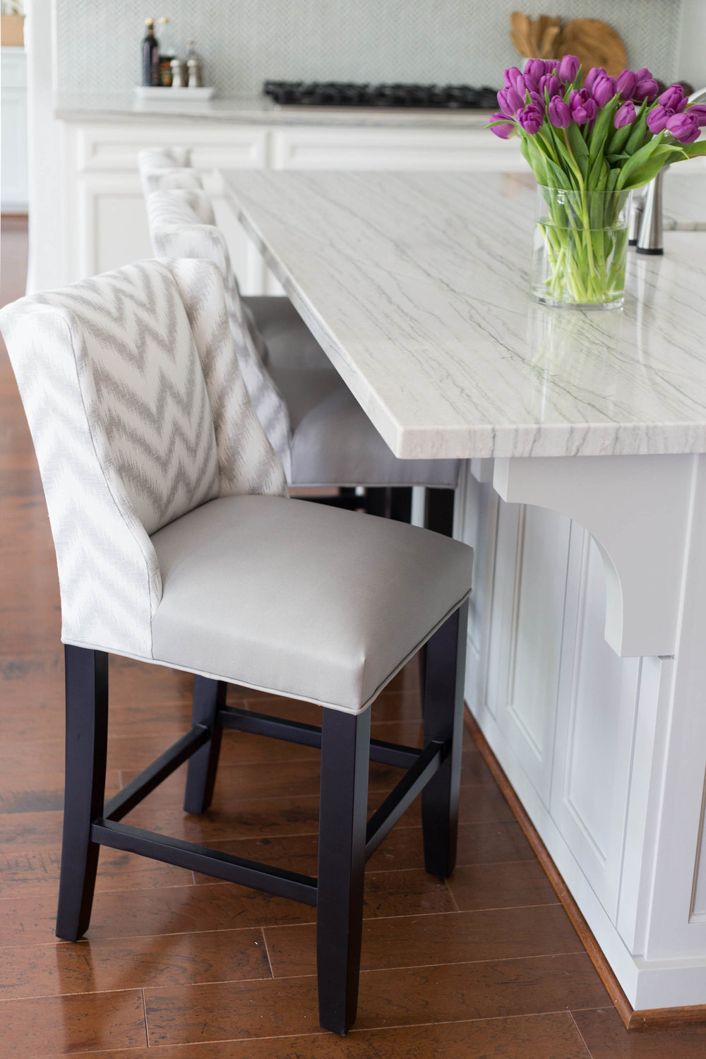 Custom barstools in gray chevron with vinyl seats | Designer: Carla Aston, Photographer: Tori Aston #barstools