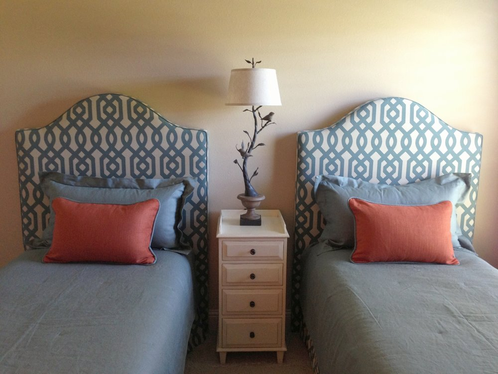 Custom design, bedding, headboard | Designer: Carla Aston