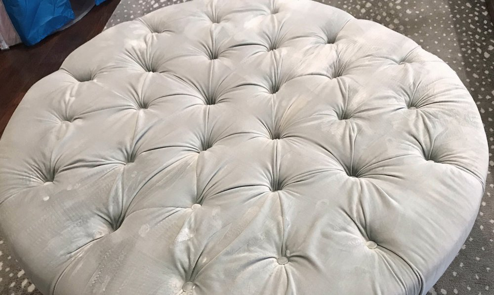 BEFORE - Stained and worn velvet ottoman