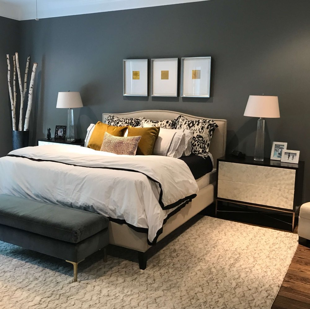 Dark gray master bedroom