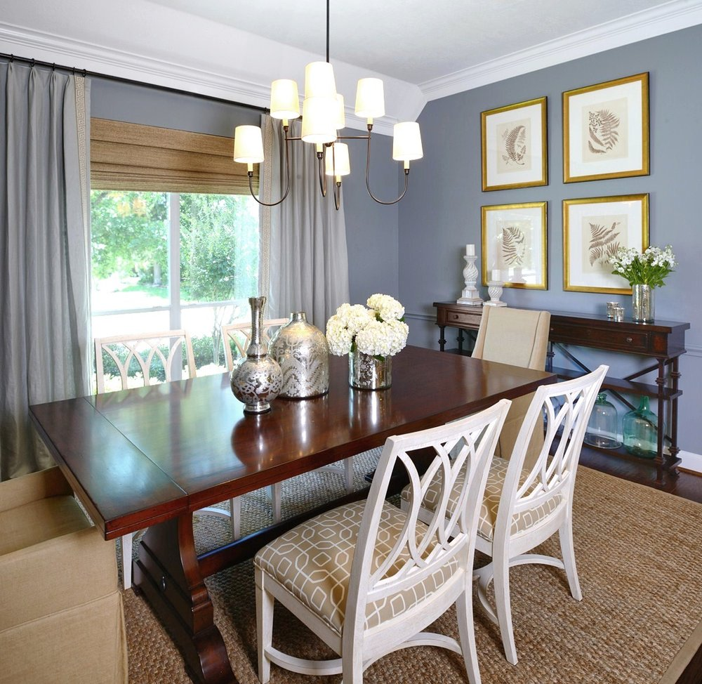 This dining room was painted Benjamin Moore Brewster Gray | Carla Aston, Designer, Miro Dvorscak, Photographer | #brewstergray #paintcolors