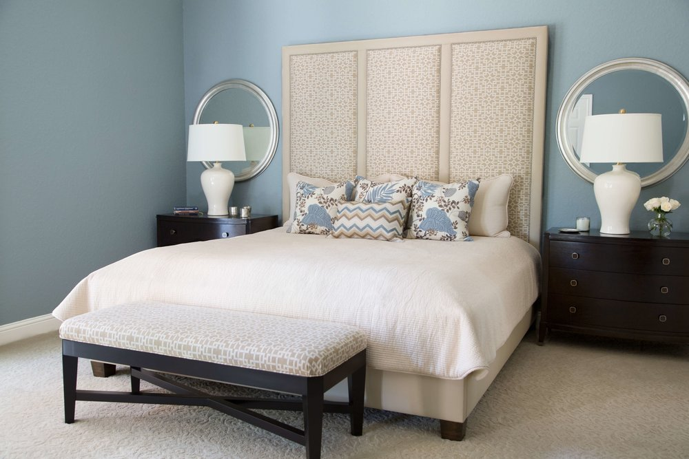 This bedroom was painted Benjamin Moore Brewster Gray | Carla Aston, Designer, Tori Aston, Photographer | #brewstergray #paintcolors