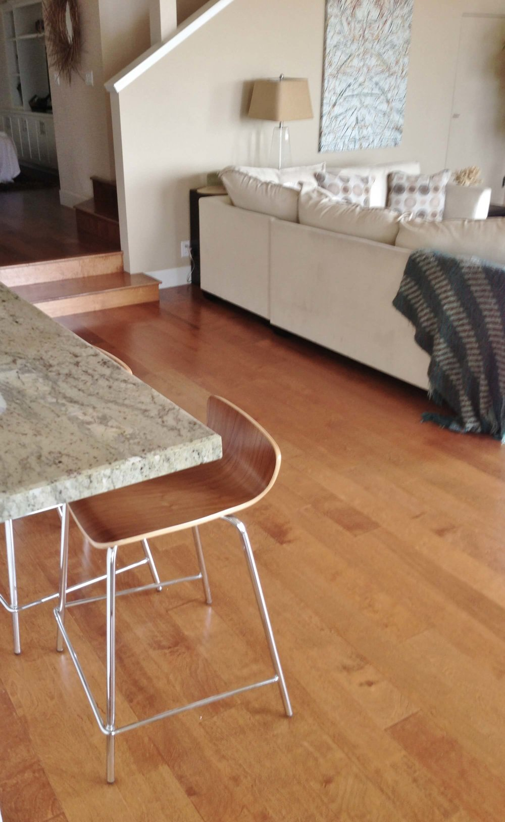 Orange tone wood floor - Ventura California rental house review tour