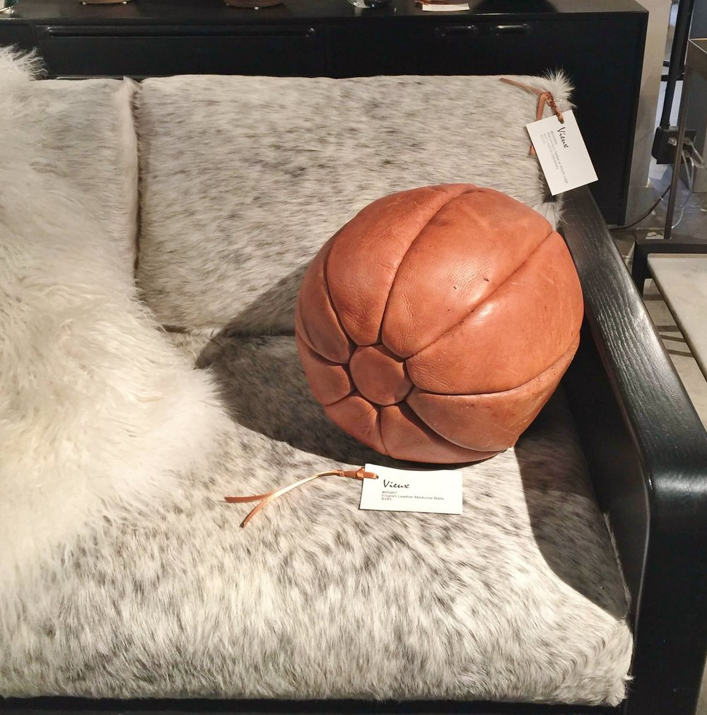 I found this cool basketball shaped leather pillow in a shop in Houston later on. Wouldn't it be great in this room?
