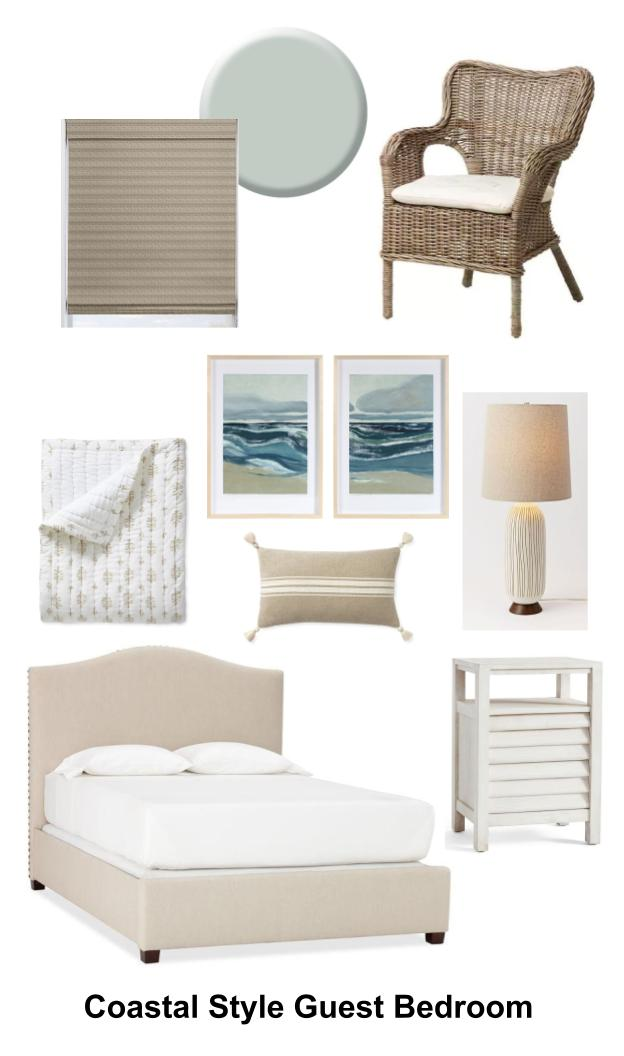 Save this coastal style guest bedroom design for later reference on Pinterest!