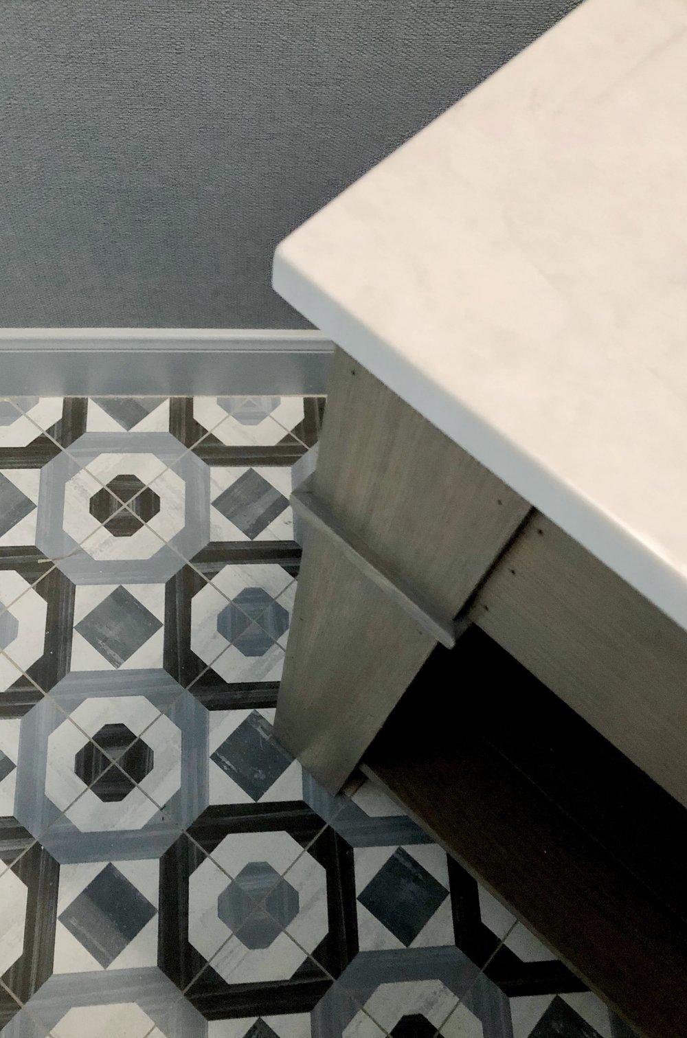 PROJECT SNEAK PEEKS | Patterned cement look tile floor in powder room with custom vanity | Carla Aston, Designer