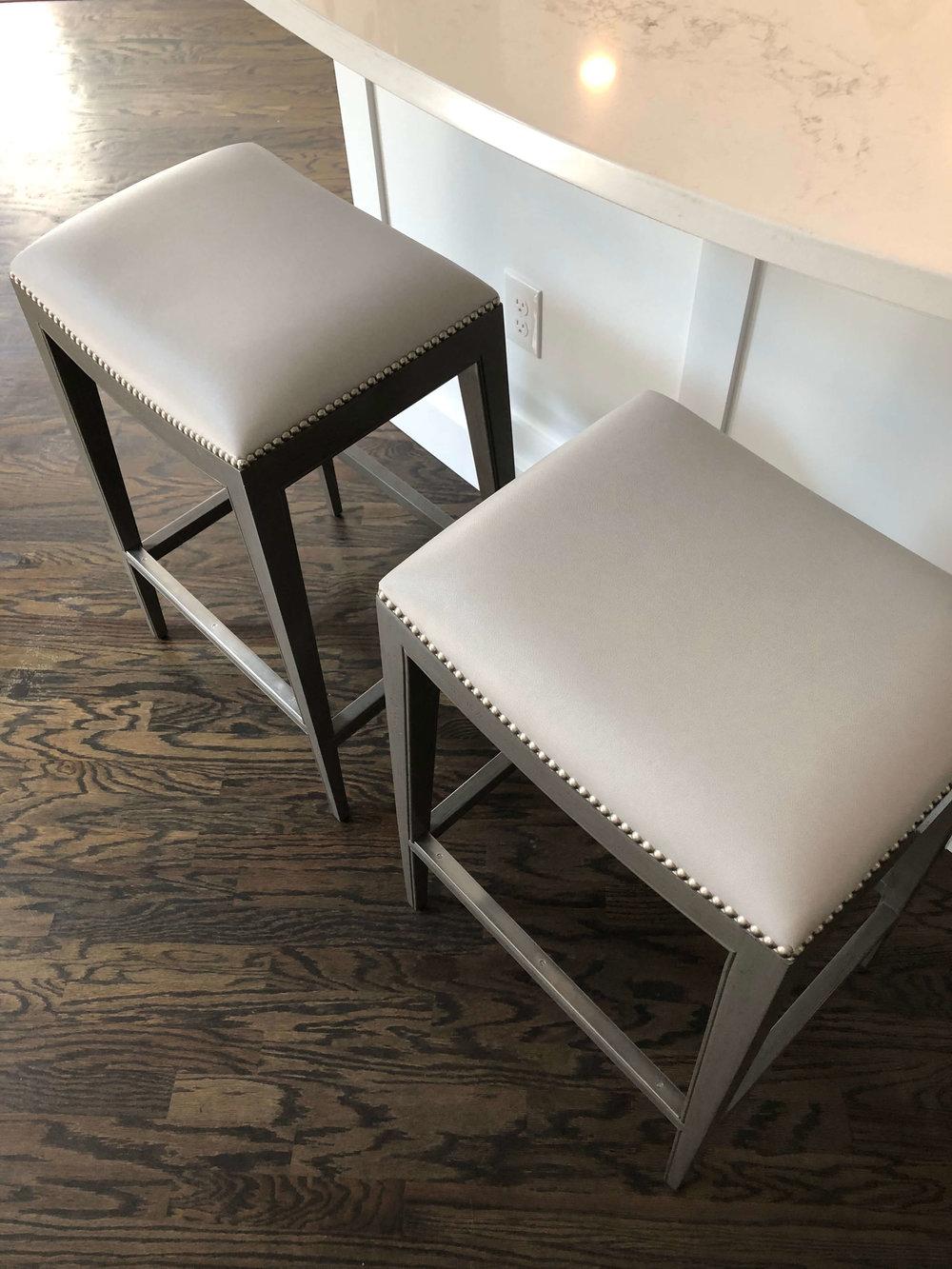 PROJECT SNEAK PEEKS | Bar stools with vinyl seats for durability | Carla Aston, Designer