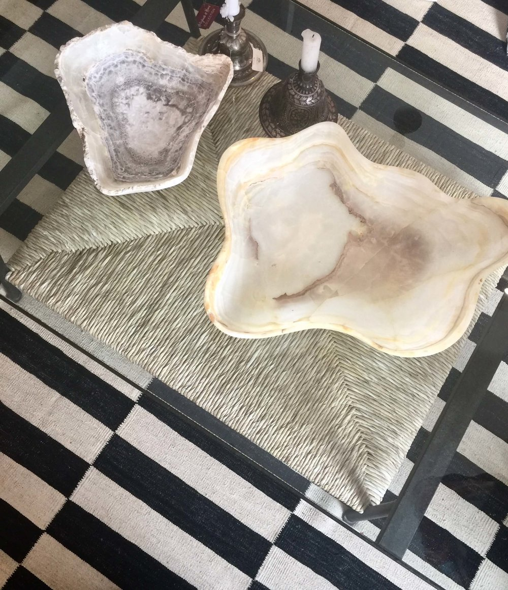 Beautiful onyx bowls seen at Hollywood at Home in Beverly Hills during Design Bloggers Conference 2018