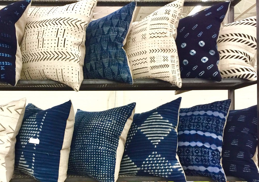 Mudcloth decorative pillows from Dallas Market 2017 from a vendor in the temps building. (Some of these are now my own.:-)