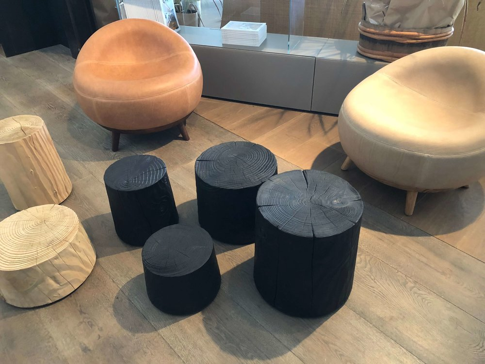 Charred wood drum tables on the LA Design Trail at  Northerners Collective