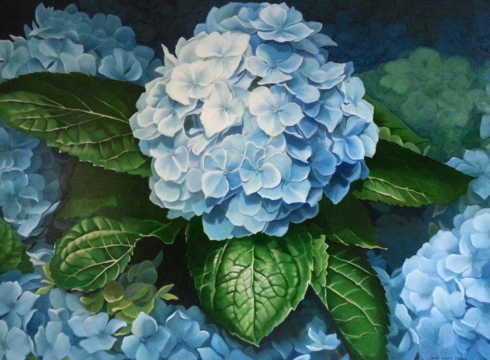 Blue hydrangea, Artist, Jean Marie Bucich, 72 x 54 oil painting