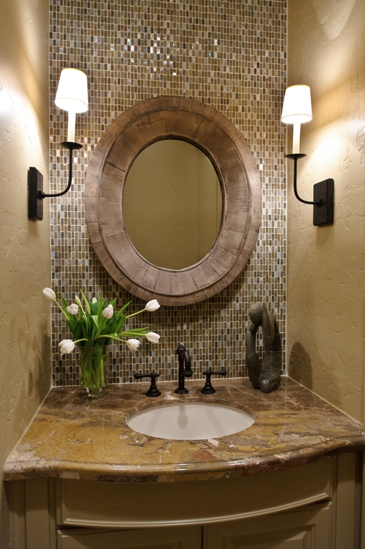POWDER BATH ROUND UP |Powder room remodel with mosaic tile back wall and side sconces| Designer: Carla Aston, Photographer: Miro Dvorscak