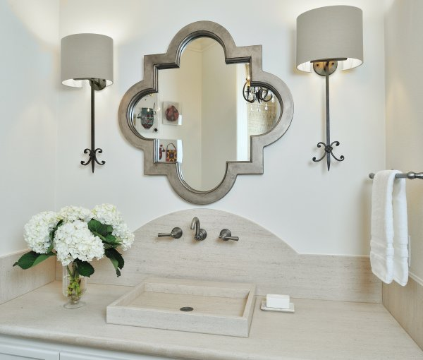 POWDER BATH ROUND UP | quatrefoil mirror with limestone counter, vessel sink and curved backsplash | Carla Aston, Designer