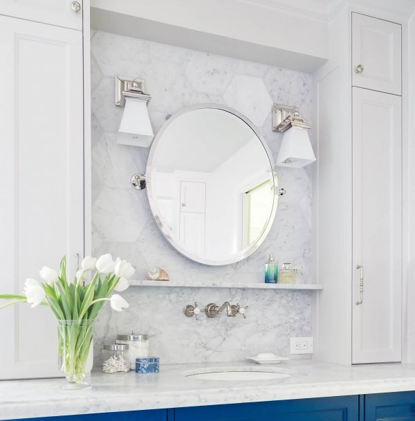White marble bathroom designed by Carla Aston, Tori Aston - Photographer