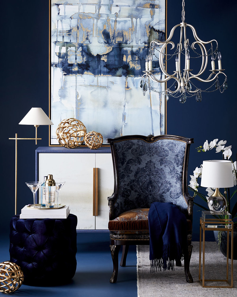 High contrast, navy and white with brass accents for dining room inspiration