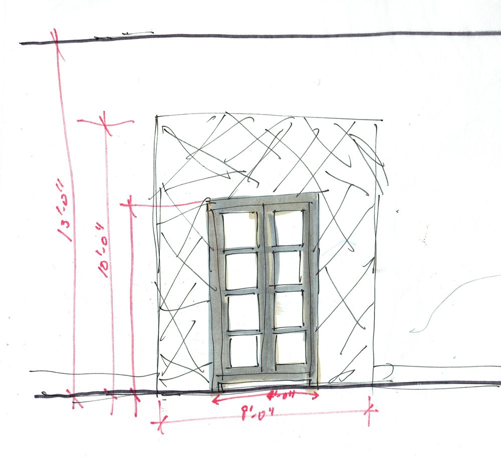 quick sketch for dining room cabinet in niche with wallpaper