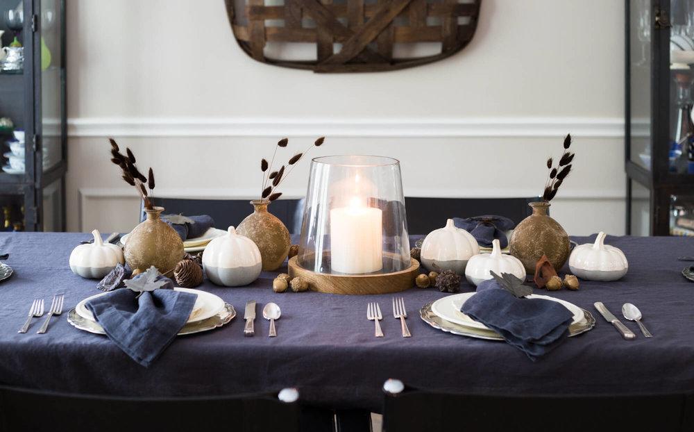 Dining room fall tabletop - Carla Aston, Designer | Tori Aston, Photographer #paintcolor #falltablesetting #diningroomideas #tabletop