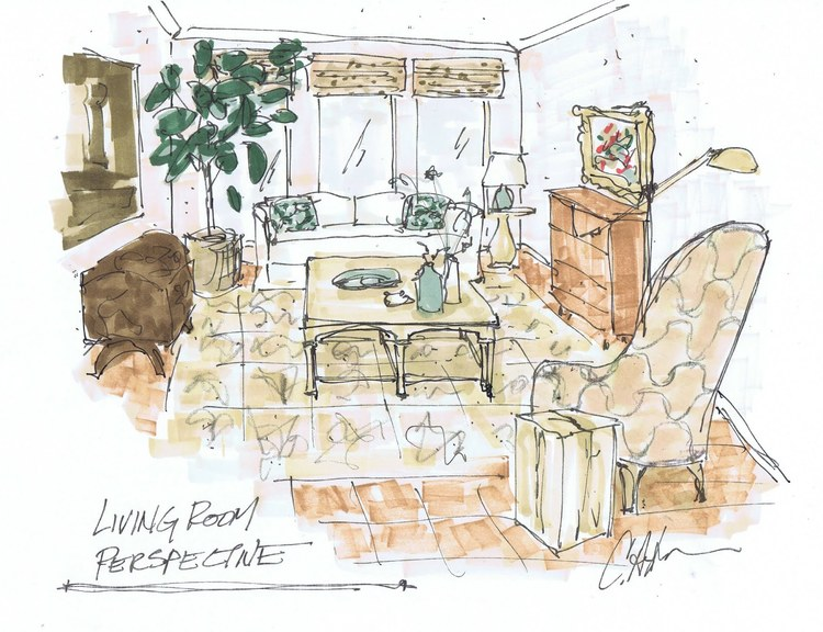 Best Old School Interior Designer Supplies - living room sketch