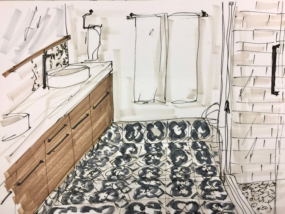 Bathroom with patterned tile floor and vessel sinks, sketch done with Prismacolor markers | Carla Aston, Designer