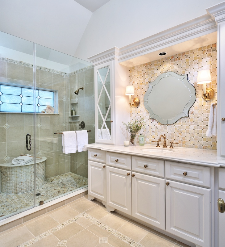 New window with milky leaded glass design in the shower of this bathroom remodel | Designer: Carla Aston, Photographer: Miro Dvorscak