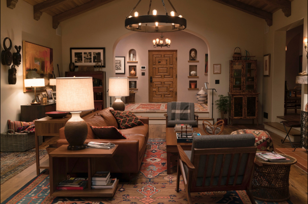 """Living room from the Netflix series """"Grace and Frankie"""", Robert and Sol's kitchen in their new house."""