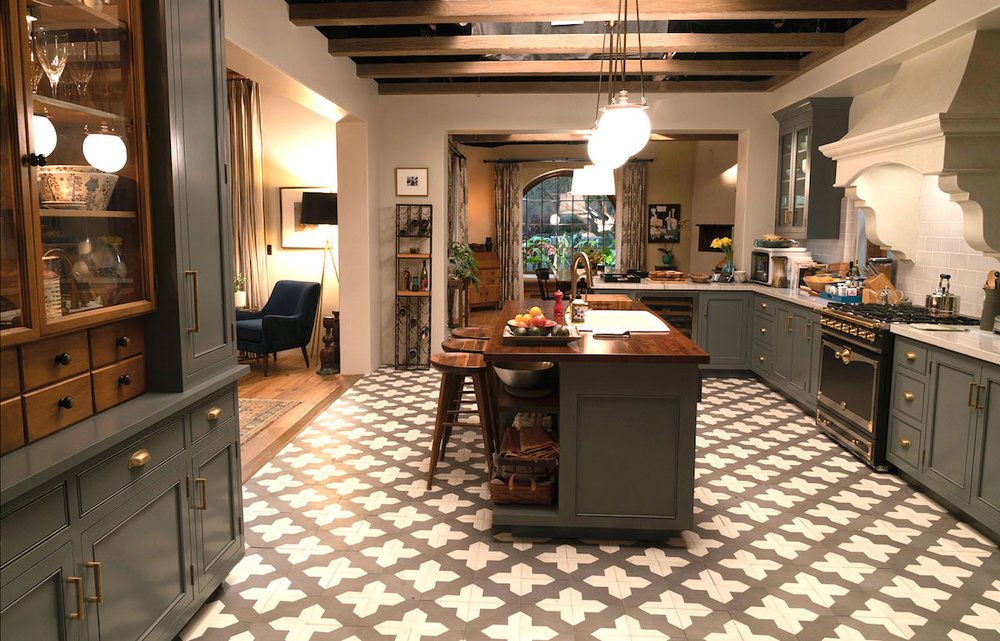 Kitchen from the Netflix series, Grace and Frankie, Robert and Sol's kitchen in their new house.