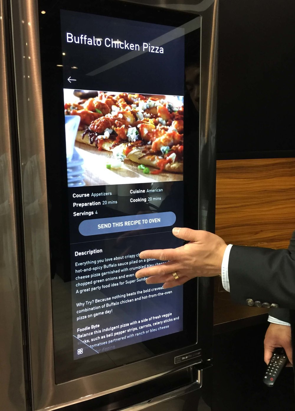Smart Home panel in refrigerator