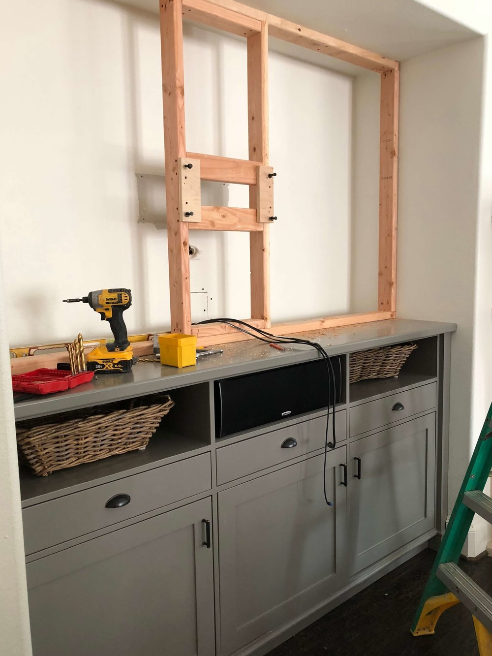 In Progress - TV entertainment center #remodelingideas