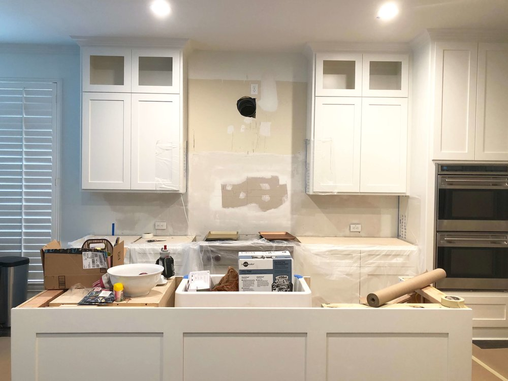 white kitchen remodel project