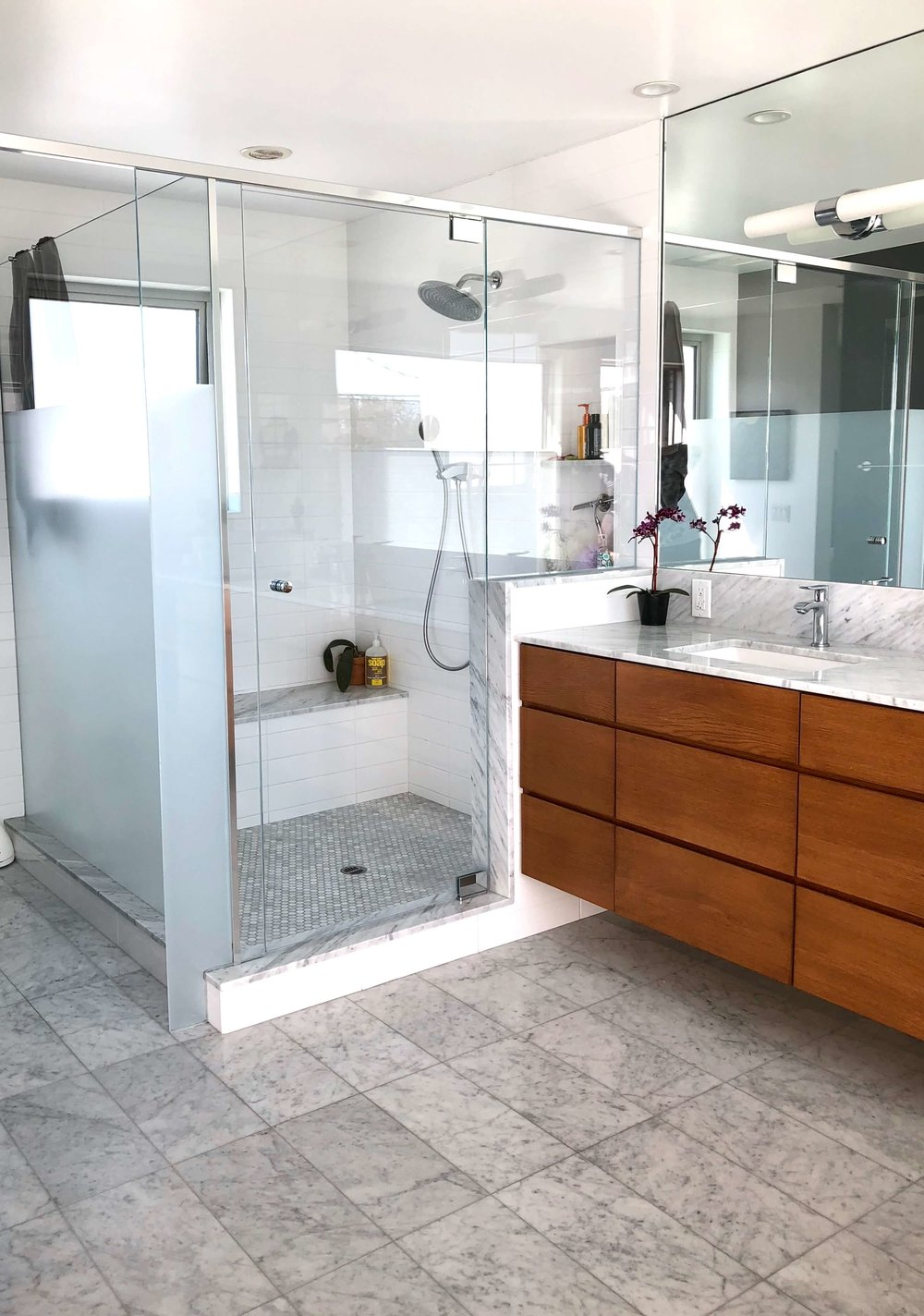 Cool toned modern bathroom made warm with wood vanity, Dwell on Design home tours, LA,  AB Design Studio