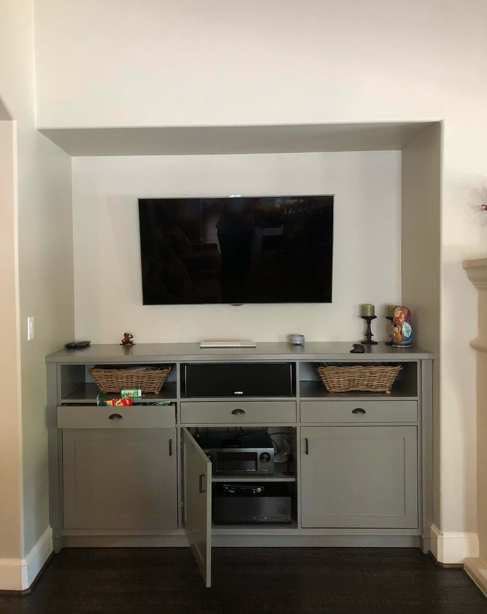 BEFORE - tv entertainment center with lower cabinet only #tvcabinet #entertainmentcenter #builtin #cabinetry