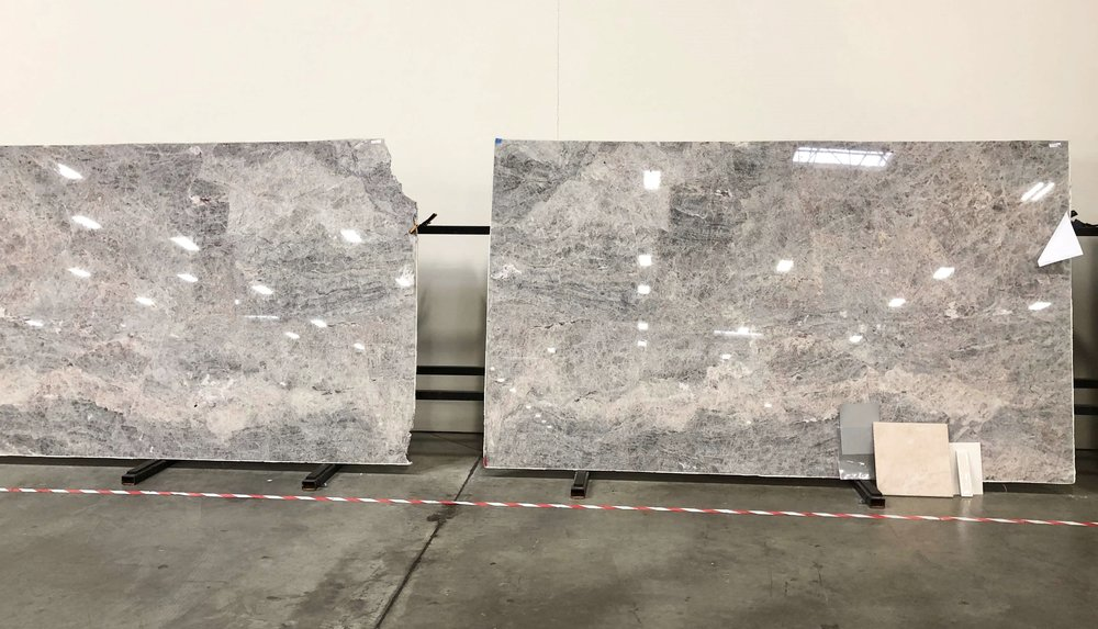 Platinum quartzite slabs for kitchen remodel, from Arizona Tile