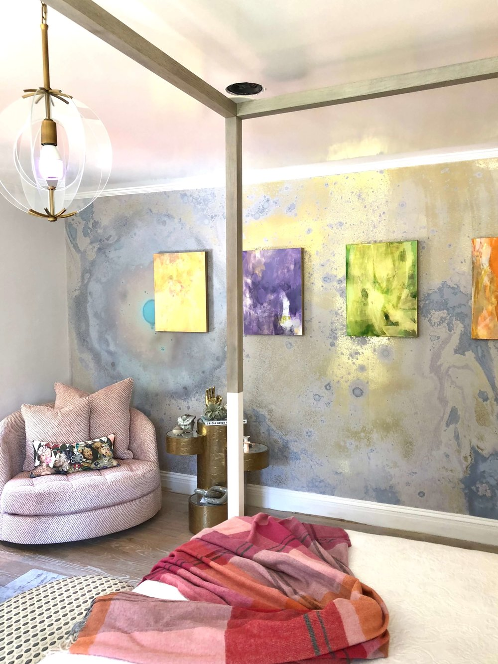 Featured Artist - Kari Kroll, in the teen girl bedroom of the Pasadena Showcase House of Design, room designed by Jeanne Chung, Cozy Stylish Chic