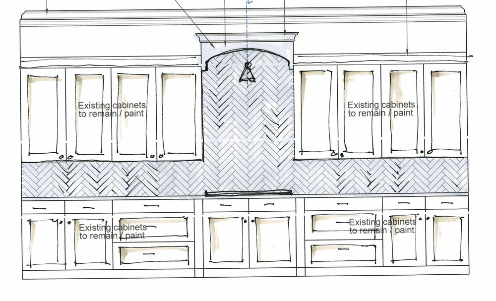 Elevation drawing of kitchen remodel