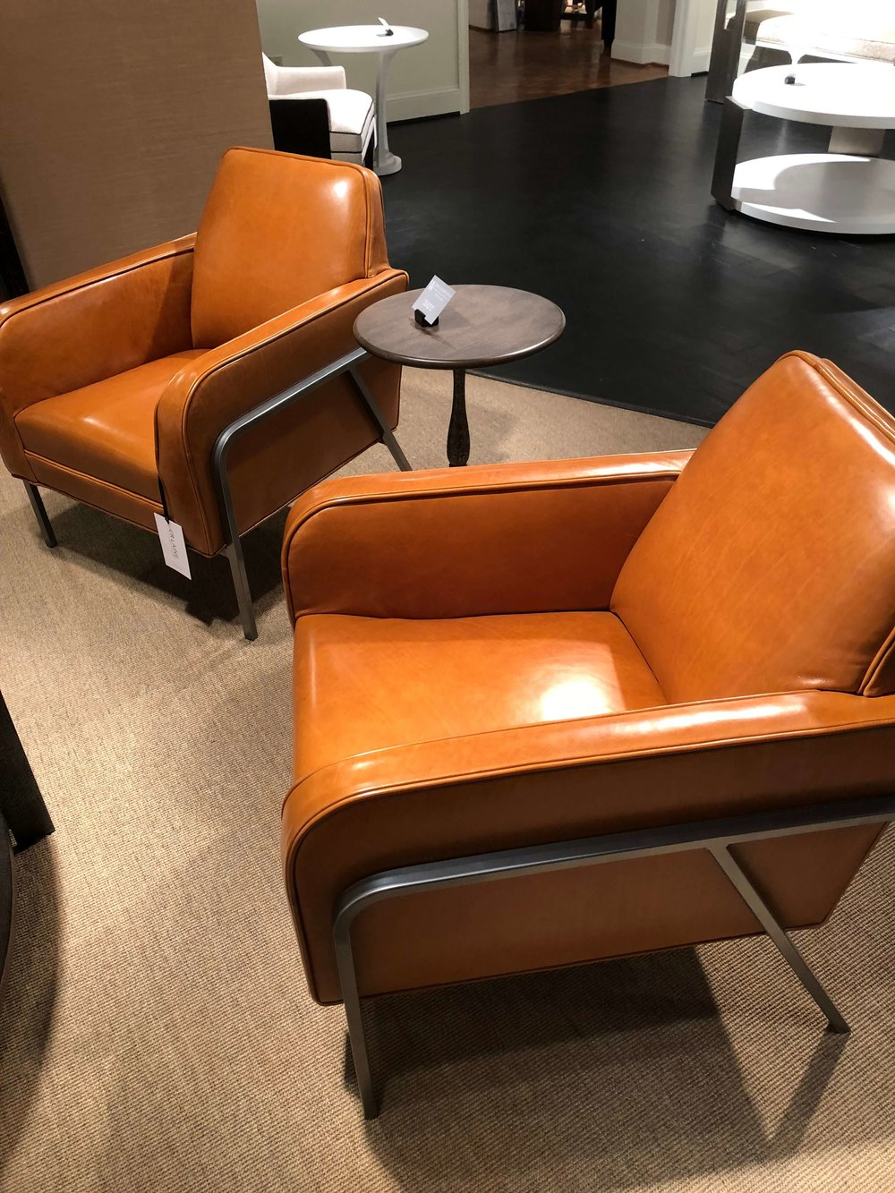 Caramel leather modern chairs by Woodbridge Furniture