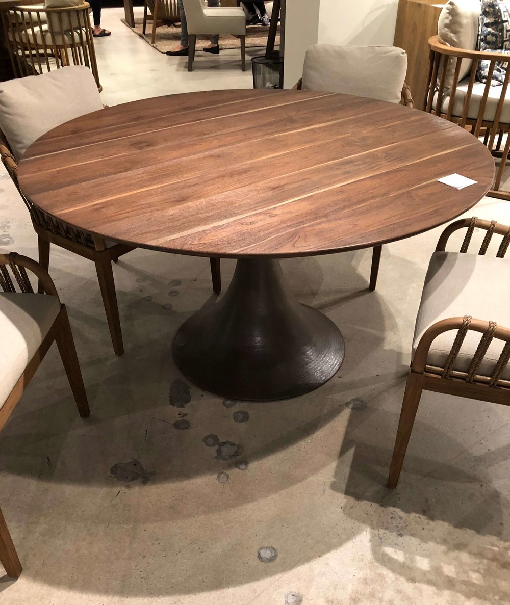Gorgeous wood top on this table from Brownstone Furniture