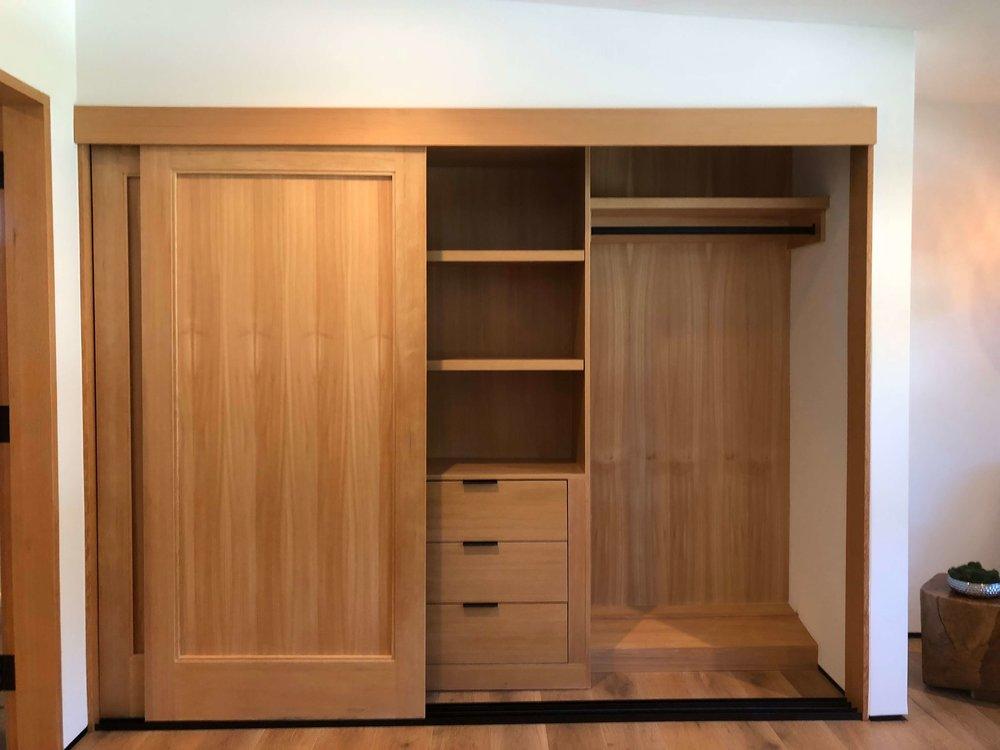 Closet in natural oak in contemporary home - Dwell on Design's Fall Home Tour, Designer: Vitus Matare #closet #cabinetry #closetdesign