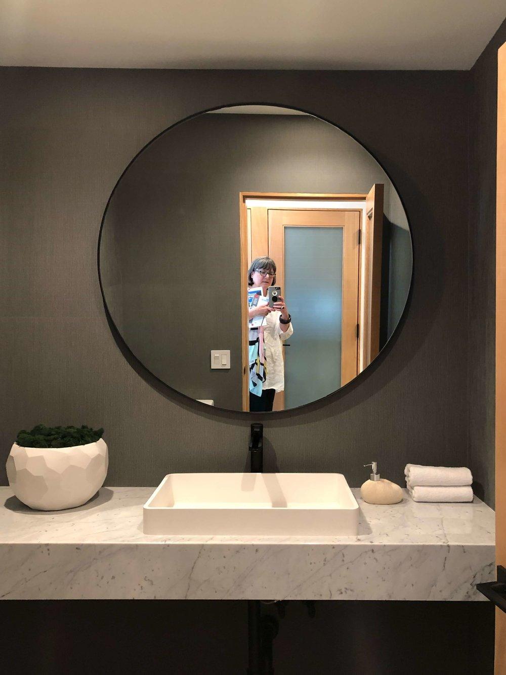 Powder room in California contemporary home, Dwell on Design's Fall Home Tour, Designer: Vitus Matare #powderroom #powderbath #marblevanity