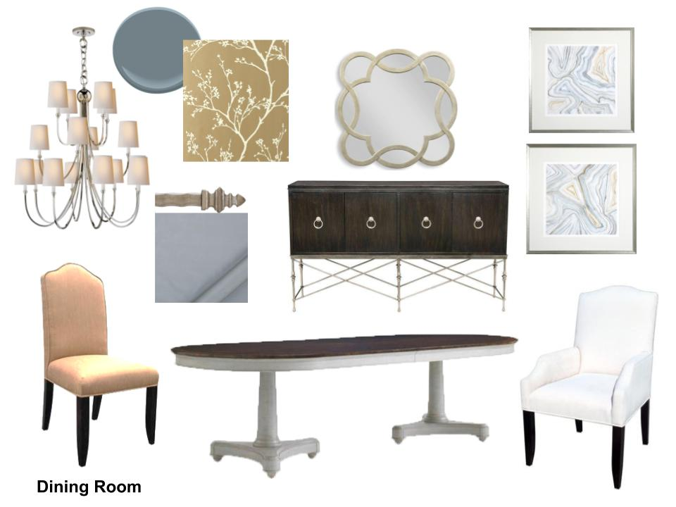 Elegant blue dining room storyboard