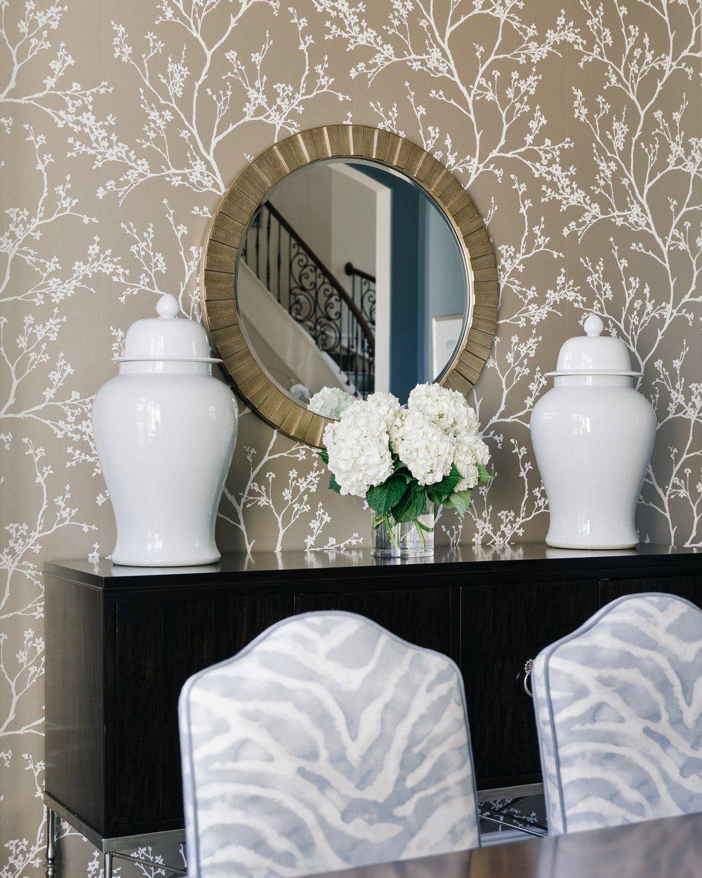 Elegant blue dining room | Carla Aston - Designer, Shaun Bain - Contractor, Colleen Scott - Photographer #diningroomideas #diningroom #bluediningroom #zebrapattern
