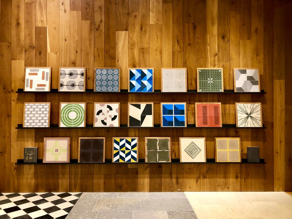 Concrete tile line at Exquisite Surfaces - Merchandise Mart, Chicago #concretetile #tilepattern