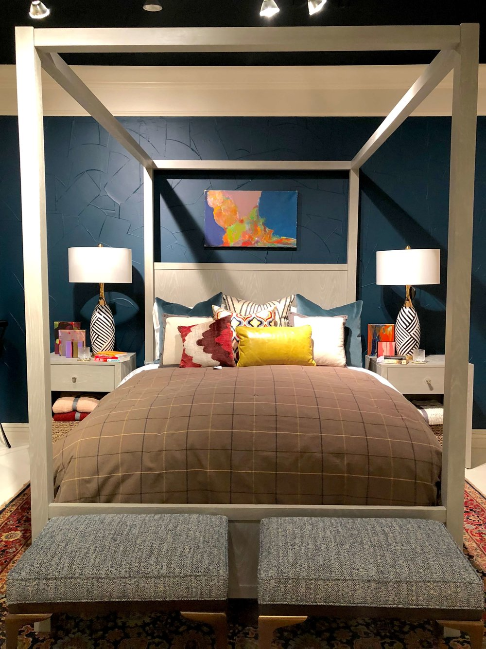 Bedroom designed by Jeanne Chung of Cozy, Stylish, Chic for Alden Parkes Showroom #hpmkt #bedroomdesign #bedroom #fourposterbed