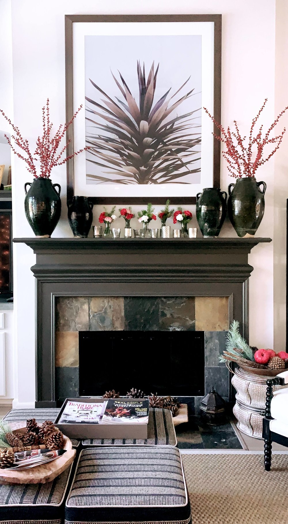 Christmas home tour - fireplace mantel decor, Designer: Carla Aston | #fireplacemantel #mantle #holidayhometour #christmashometour #christmasdecor