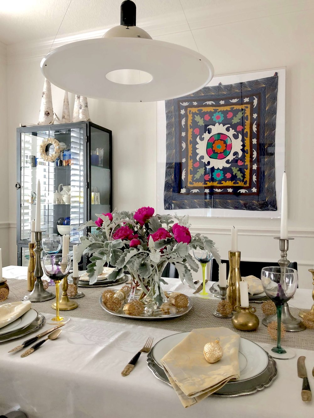 Tabletop with trending taper candles | Carla Aston Interior Designer, Tori Aston Photographer #tapercandles #candlesticks #interiordesigntrends #trending