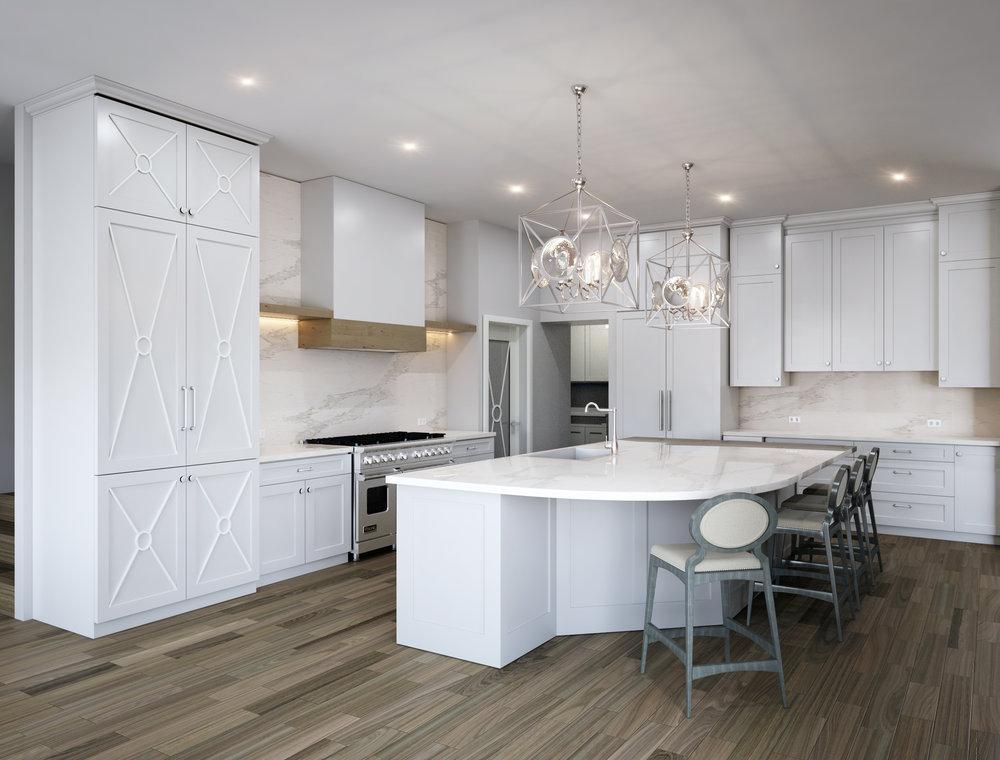 Rendering of kitchen remodel design | Carla Aston, Designer #whitekitchen #kitchenremodel #kitchenremodelideas