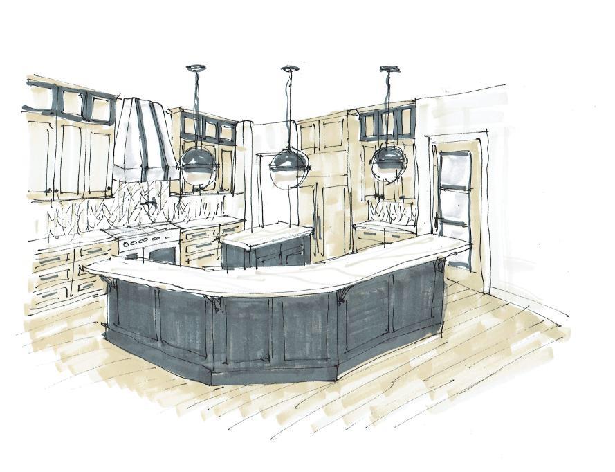 KItchen rendering hand sketch | Carla Aston, Designer #kitchendesign #kitchenideas #kitchenremodel #kitchenrendering
