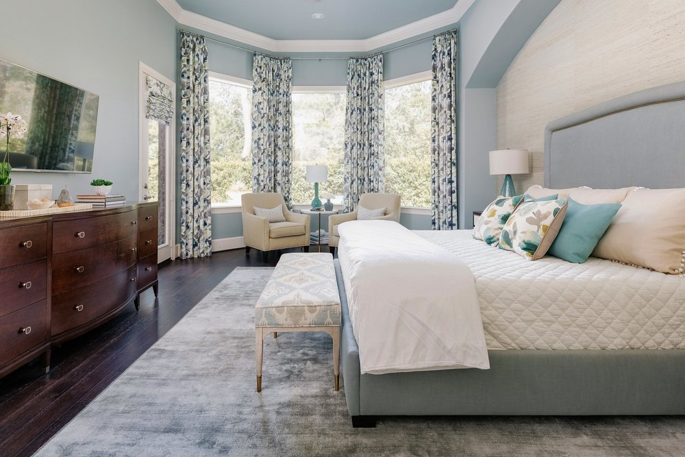 Luxurious blue master bedroom retreat - Carla Aston, Designer | Colleen Scott, Photographer #masterbedroom #bedroomdesign #bedroomideas