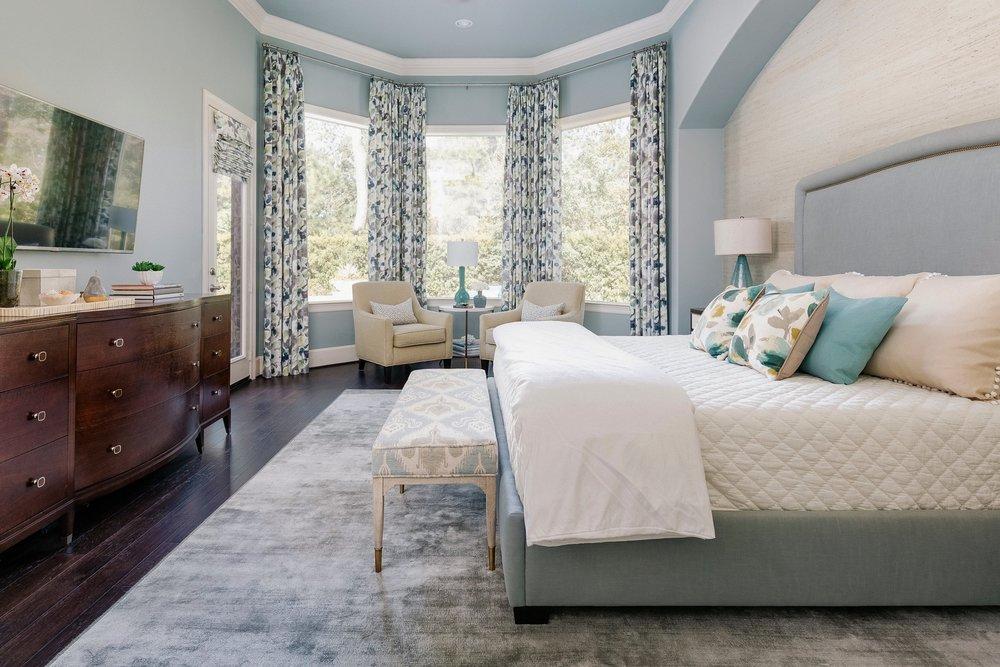 Luxurious blue master bedroom retreat - Carla Aston, Designer | Colleen Scott, Photographer #masterbedroom #bedroomdesign #bedroomideas